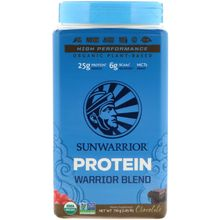 Sunwarrior, Warrior Blend, Plant-Based Organic Protein, Chocolate, 1.65 lb (750 g)