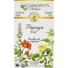 Celebration Herbals Absolutely Organic Caffeine Free Herbal Tea Papaya Leaf 24 Tea Bags, 38 gm 1.33 Oz