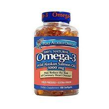 Pure Alaska Omega 100% Natural Omega-3 Wild Alaskan Salmon Oil 1000mg 180 Softgels