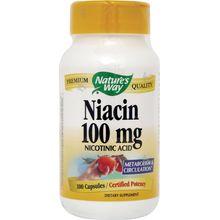 Nature's Way Niacin 100 mg Nicotinic Acid for Metabolism & Circulation - 100 Capsules