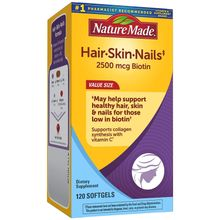 Nature Made Hair/Skin/Nails 2500mcg of biotin Supports Collagen Synthesis with Vitamin C - 120 Softgels