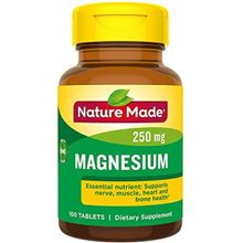 Nature Made Magnesium 250 mg helps Nerve & Muscle Function - 100 Tablets