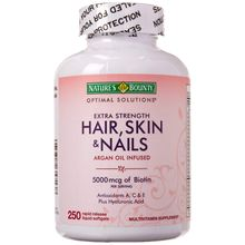 Natures Bounty Extra Strength Hair Skin Nails, 250 Softgels