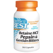 Doctor's Best, Betaine HCl, Pepsin & Gentian Bitters, 360 Capsules DRB-00315