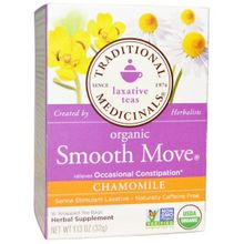 Traditional Medicinals Organic Smooth Move Chamomile 16 no.s Wrapped Tea bag Herbal Supplement 113 Oz (32g)