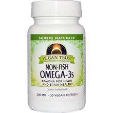 Source Naturals Vegan True Non-Fish Omega-3s, 300 mg 30 Vegan Softgels