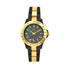 Toy Watch 21218-GD Womens Black Dial Quartz Watch with Plastic Strap