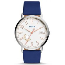 Fossil ES3989 Womens Silver Stainless Steel Case White Dial Blue Leather Strap Round Analog Watch