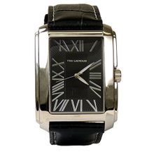 Ted Lapidus 5115102 Mens Black Dial Analog Quartz Watch with Leather Strap