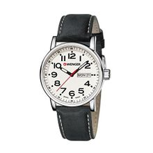 Wenger 01.0341.101 Mens White Dial Analog Quartz Watch with Leather Strap