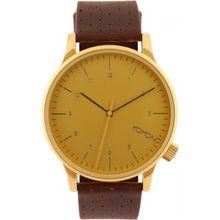 Komono KOM-W2001 Mens Gold Dial Analog Quartz Watch with Leather Strap