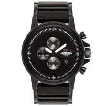 Men's Black Vestal Plexi Leather Chronograph Watch PLE038