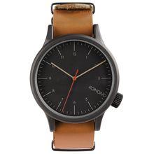 Komono KOM-W1901 Mens Black Dial Analog Quartz Watch with Leather Strap