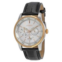 Citizen Mens Dress BU2016-00A Mens Silver Dial Analog Watch with Leather Strap