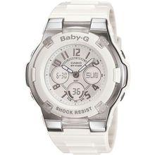 Casio BGA110-7B Womens White Dial Dual Quartz Watch with Resin Strap
