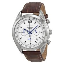Chronograph White Dial Stainless Steel Brown Leather Men's Watch
