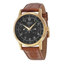 Citizen AO9003-08E Mens Black Dial Analog Quartz Watch with Leather Strap