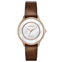 Citizen EM0383-08D Womens Gold Stainless Steel Case Pearl Dial Brown Leather Strap Round Analog Watch