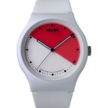 Noon 33-037 Mens Red Dial Analog Quartz Watch with Silicone Strap