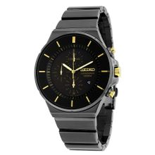 Seiko SNDD57 Mens Black Dial Analog Quartz Watch with Stainless Steel Strap