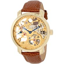 Akribos Xxiv AK406YG Mens Gold Dial Analog Mechanical Watch with Calfskin Strap