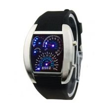 Hde HDE-S112 Mens Black Dial Led Watch with Silicone Strap