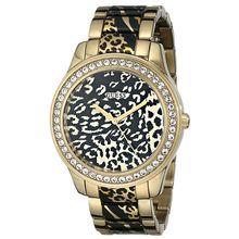 Women's Gold Tone Guess Leopard Print Stainless Steel Watch U0465L1