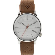 Komono KOM-W2013 Mens Silver Dial Analog Quartz Watch with Leather Strap