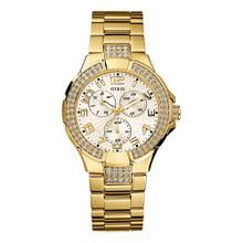 Guess G13537L Womens Silver Dial Analog Quartz with Gold Tone Stainless-Steel Watch