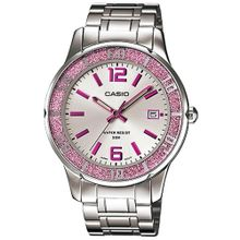 Casio #LTP1359D-4AV Women's Pink Sprinkled Bezel Metal Fashion Silver Dial Watch