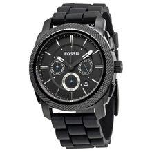 Fossil FS4487 Machine Mens Black Dial Analog Quartz Silicone Strap Watch
