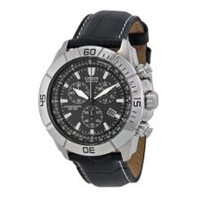 Citizen AT0810-12E Mens Black Dial Analog Quartz Watch with Leather Strap