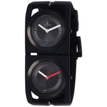 Titan 1653NP01 Mens Black Dial Analog Quartz Watch with Silicone Strap