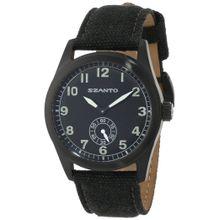 Szanto SZ 1001 Mens Black Dial Analog Quartz Watch with Canvas Strap
