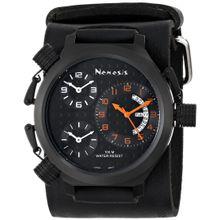 Nemesis KIN080KN Mens Black Dial Analog Quartz Watch with Leather Strap