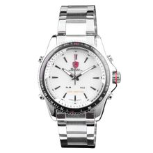 Shark SH004 Mens White Dial Analog Quartz Watch with Stainless Steel Strap