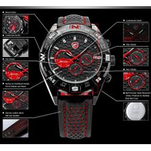 Shark SH080 Mens Black Dial Analog Quartz Watch with Leather Strap