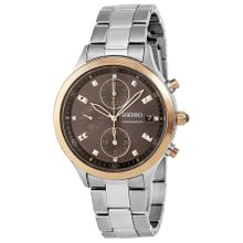 Seiko SNDX06 Womens Brown Dial Analog Quartz Watch with Stainless Steel Strap