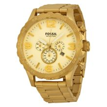 Fossil JR1479 Nate Mens Gold Dial Analog Quartz Stainless Steel Watch