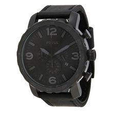 Fossil JR1354 Nate Mens Black Dial Analog Quartz Leather Strap Watch
