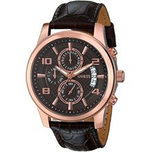 Guess U0076G4 Mens Brown Dial Quartz Watch with Leather Strap