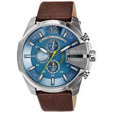 Diesel DZ4281 Mens Blue Dial Quartz Watch with Leather Strap