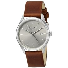 Kenneth Cole 10025931 Womens Classic Silver Stainless Steel Case Brown Leather Band Round Watch