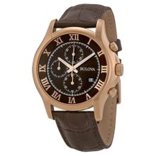 Bulova 97B120 Mens Brown Dial Analog Quartz Watch with Leather Strap