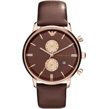Armani AR0387 Mens Brown Dial Analog Quartz Watch with Leather Strap
