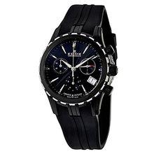 Edox 10410-357N-NIN Womens Black Dial Quartz Watch with Silicone Strap