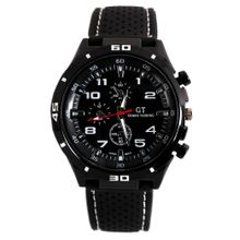 Fanmis PN K52 Mens Black Dial Analog Quartz Watch with Silicone Strap