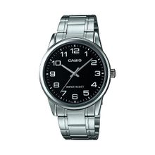 Casio #MTP-V001D-1B Men's Standard Stainless Steel Easy Reader Black Dial Watch
