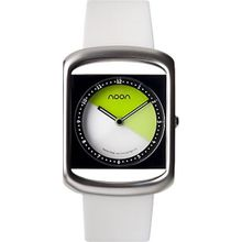 Noon 25013 Womens White Dial Analog Quartz Watch with Silicone Strap