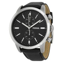 Fossil Townsman FS4866 Mens Black Dial Analog Quartz Watch with Leather Strap